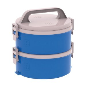 Conjunto 2 Marmita Térmica Marmitex Termoprato 1,5l Lanche Almoço Tekcor 1S 1D - Soprano - Azul