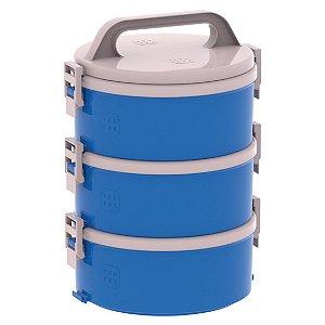 Conjunto 3 Marmita Térmica Marmitex Termoprato 1,5l Almoço Lanche Tekcor 1S 1D 1T - Soprano - Azul