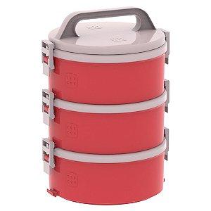 Conjunto 3 Marmita Térmica Marmitex Termoprato 1,5l Almoço Lanche Tekcor 1S 1D 1T - Soprano - Vermelho