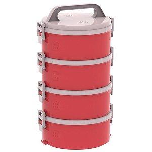 Conjunto 4 Marmita Térmica Marmitex Termoprato 1,5l Almoço Lanche Tekcor 2S 1D 1T - Soprano - Vermelho