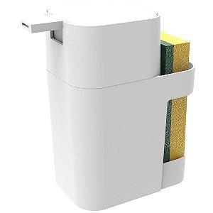 Dispenser Porta Detergente Esponja Sabão Liquido 600ml De Pia Cozinha - Soprano - Branco