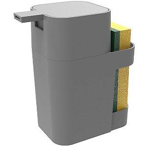 Dispenser Porta Detergente Esponja Sabão Liquido 600ml De Pia Cozinha - Soprano - Cinza