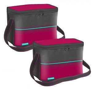 Kit 2 Bolsa Térmica Cooler 18 Litros  Alimentos Bebidas - Soprano - Rosa
