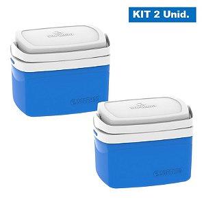 Kit 2 Caixa Térmica 5 Litros Cooler Bebidas Alimentos Praia Camping Piscina - Soprano - Azul