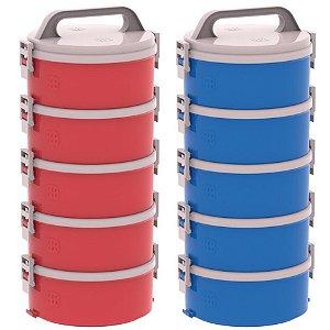 Kit 2 Conjunto 5 Marmitas Térmica Termopratos 1,5l Tekcor - Soprano - Azul-Vermelho
