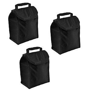 Kit 3 Bolsa Térmica Cooler Lunch 4,2 Litros Lancheira Refeição - Soprano - Preto