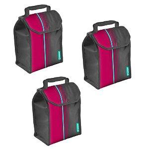 Kit 3 Bolsa Térmica Cooler Lunch 4,2 Litros Lancheira Refeição - Soprano - Rosa