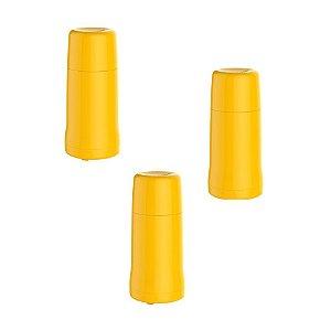Kit 3 Garrafa Térmica Pequena Onix 250 Ml Rosca Quente Frio - Soprano - Amarelo