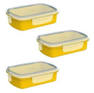 Kit 3 Pote Lancheira 1,2 L Refil Hermético Para Marmita Elétrica - Soprano - Amarelo