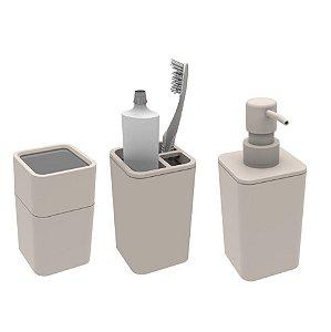 Kit Banheiro Dispenser Sabonete + Porta Escovas + Suporte Cotonete Algodão - Soprano - Gelo