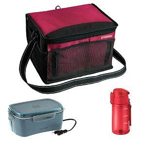 Kit Bolsa Térmica 12 L + Marmita Elétrica + Squeeze 550ml Refeição - Soprano - Vermelho