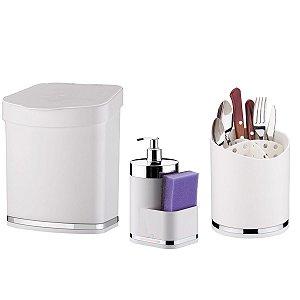 Kit Lixeira 2,5 Litros Escorredor Talheres Dispenser Porta Detergente Cozinha Branco Cromado - Future