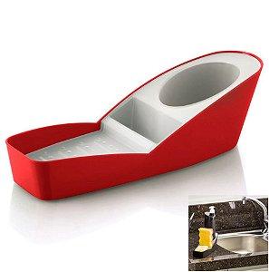 Organizador De Pia Porta Detergente Esponja Sabão Cozinha Infinity - OP 560 Ou - Vermelho