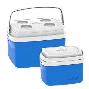 Kit Caixa Térmica 12 + 5 Litros Cooler Alimentos Bebidas Praia Camping - Soprano - Azul
