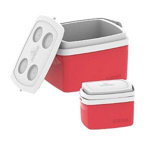 Kit Caixa Térmica 12 + 5 Litros Cooler Alimentos Bebidas Praia Camping - Soprano - Vermelho