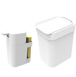 Kit Cozinha Dispenser Porta Detergente + Lixeira 2,5 Litros - Soprano - Branco