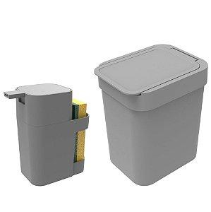 Kit Cozinha Dispenser Porta Detergente + Lixeira 2,5 Litros - Soprano - Cinza