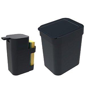 Kit Cozinha Dispenser Porta Detergente + Lixeira 2,5 Litros - Soprano - Preto