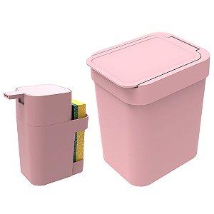 Kit Cozinha Dispenser Porta Detergente + Lixeira 2,5 Litros - Soprano - Rosa