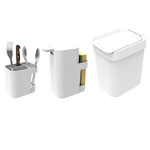 Kit Cozinha Dispenser Porta Detergente + Lixeira 2,5L + Suporte Talheres - Soprano - Branco