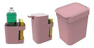 Kit Cozinha Dispenser Porta Detergente + Lixeira 2,5L + Suporte Talheres - Soprano - Rosa