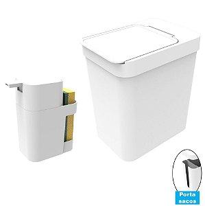 Kit Cozinha Dispenser Porta Detergente + Lixeira 5 Litros Porta Saco Plástico - Soprano - Branco