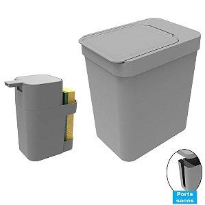Kit Cozinha Dispenser Porta Detergente + Lixeira 5 Litros Porta Saco Plástico - Soprano - Cinza