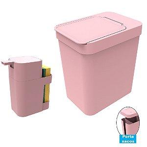 Kit Cozinha Dispenser Porta Detergente + Lixeira 5 Litros Porta Saco Plástico - Soprano - Rosa