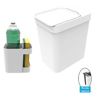 Kit Cozinha Organizador Pia Porta Detergente + Lixeira 5 Litros Porta Saco Plástico - Soprano - Branco