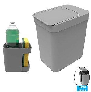 Kit Cozinha Organizador Pia Porta Detergente + Lixeira 5 Litros Porta Saco Plástico - Soprano - Cinza