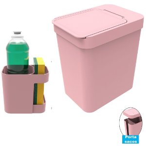Kit Cozinha Organizador Pia Porta Detergente + Lixeira 5 Litros Porta Saco Plástico - Soprano - Rosa