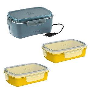 Kit Marmita Elétrica 1,2 L + 2 Pote Refil Lancheira Refeição Lanche - Soprano - Marmita Cinza/Pote Amarelo