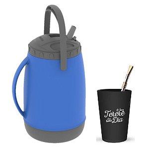 Kit Tererê Copo Plástico + Bomba Niquelado 19cm + Garrafa Térmica 2,5L - Soprano - Azul