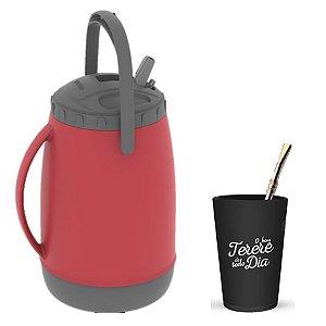 Kit Tererê Copo Plástico + Bomba Niquelado 19cm + Garrafa Térmica 2,5L - Soprano - Vermelho