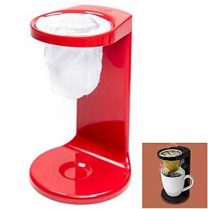 Passador De Café My Coffee Individual Coador Mini Cafézinho C/ 1 Refil - PC 1100Ou - Vermelho
