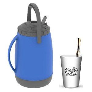 Kit Tererê Copo Plástico Bc + Bomba Niquelado 19cm + Garrafa Térmica 2,5L - Soprano - Azul