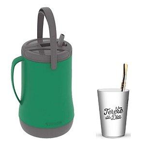 Kit Tererê Garrafa Térmica 2,5l + Copo Plástico + Bomba 19cm Niquelado - Soprano - Verde/Branco