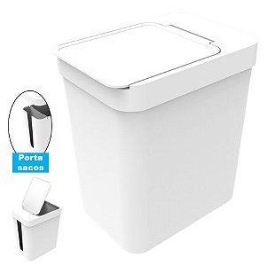 Lixeira 5 Litros Cesto De Lixo Com Porta Saco Plástico Cozinha Banheiro - Soprano - Branco