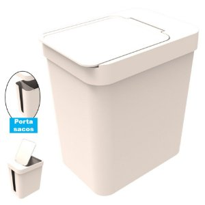 Lixeira 5 Litros Cesto De Lixo Com Porta Saco Plástico Cozinha Banheiro - Soprano - Gelo