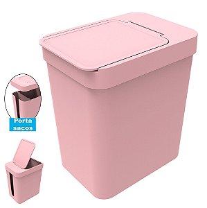 Lixeira 5 Litros Cesto De Lixo Com Porta Saco Plástico Cozinha Banheiro - Soprano - Rosa
