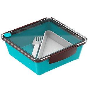 Pote Marmita 1,2 L  Hermético Saladeira Refeição Lancheira - Soprano - Azul