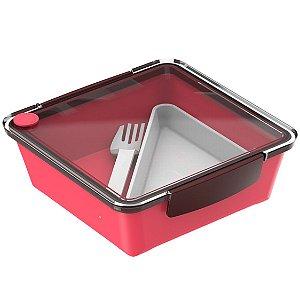Pote Marmita 1,2 L  Hermético Saladeira Refeição Lancheira - Soprano - Vermelho