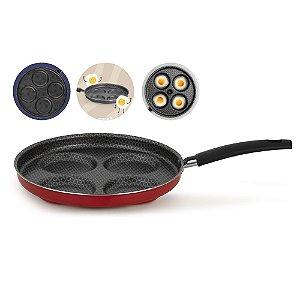 Panela frigideira 4 Ovos Hambúrguer Alumínio Antiaderente Baquelite Cozinha - 73044 Multiflon - Vermelho