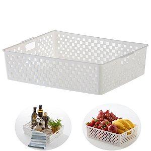 Cesto Organizador Gaveta Plástico Multiuso 34x27x9cm Cozinha Quadratta - 889 Paramount - Branco