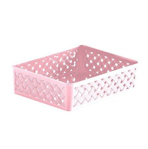 Cesto Organizador Gaveta Rattan Plástico Multiuso Quarto Armário 24x19x6,5cm - 823 Paramount - Rosa