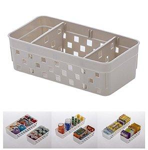 Cesto Organizador Quadratta 16x8x5cm Organizar Multiuso Com Divisórias  - 1064 Paramount - Bege