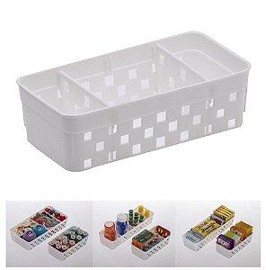 Cesto Organizador Quadratta 16x8x5cm Organizar Multiuso Com Divisórias  - 1064 Paramount - Branco