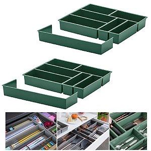 Kit 2 Organizador De Gaveta Divisor Porta Talheres Com Extensor 40x33x6,5cm - Paramount - Verde