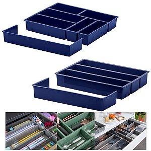 Kit 2 Organizador De Gaveta Divisor Porta Talheres Utensílios Ajustável - Paramount - Azul Marinho