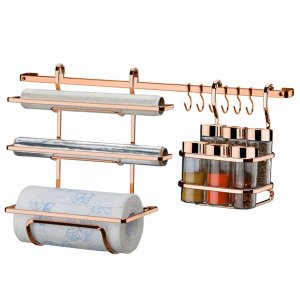 Kit Suportes Porta Rolo Triplo Papel Toalha Condimentos Temperos Com Barra 45cm Rose Gold Cozinha - Future